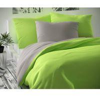 Saténové francouzské prodloužené povlečení LUXURY COLLECTION 1+2, 240x220, 70x90cm světle šedé / světle zelené