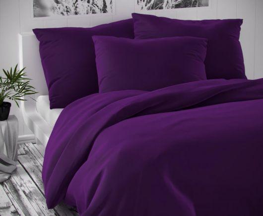 Saténové francouzské prodloužené povlečení LUXURY COLLECTION 1+2, 240x220, 70x90cm tmavě fialové