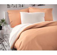 Saténové povlečení LUXURY COLLECTION 140x200, 70x90cm bílé / lososové