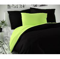 Saténové povlečení LUXURY COLLECTION 140x200, 70x90cm černé / světle zelené