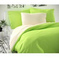Saténové prodloužené povlečení LUXURY COLLECTION 140x220, 70x90cm smetanové / světle zelené