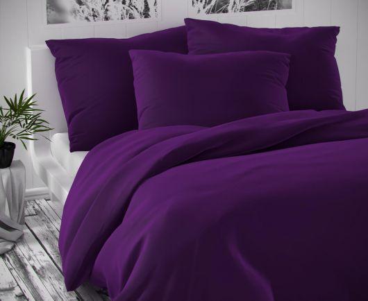 Saténové prodloužené povlečení LUXURY COLLECTION 140x220, 70x90cm tmavě fialové