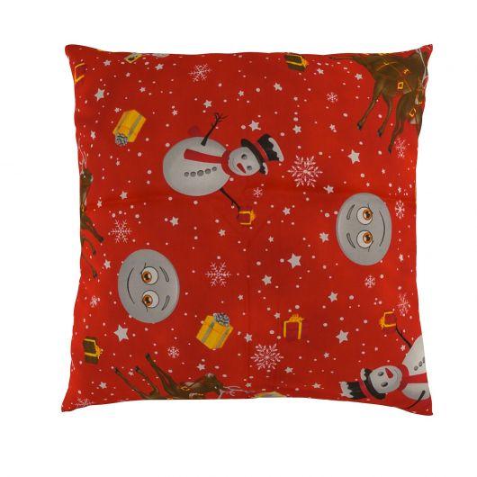Vánoční povlak na polštář SNĚHULÁCI červení