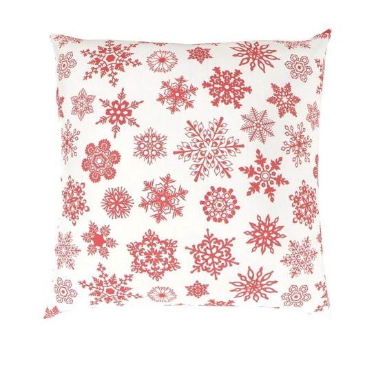 Vánoční povlak na polštář VLOČKY na bílém