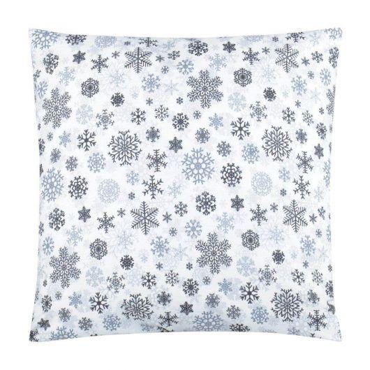 Vánoční povlak na polštář VLOČKY šedé