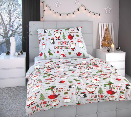 Vánoční povlečení 140x200, 70x90cm CHRISTMAS šedé